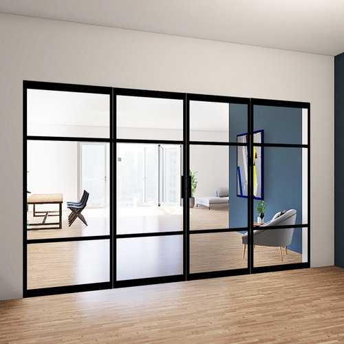 Dubbele stalen taatsdeuren met 2 zijlichten - 2580x3685mm