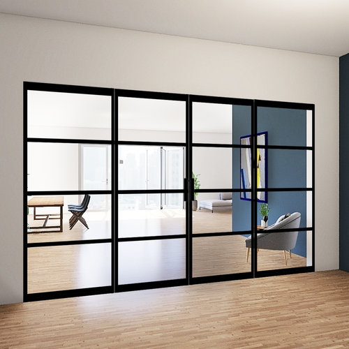 Dubbele stalen taatsdeuren met 2 zijlichten - 2315x3685mm