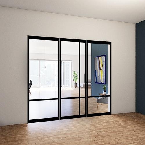 Enkele stalen taatsdeur met 2 zijlichten - 2580x2760mm