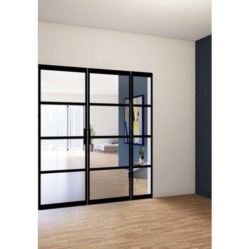 Dubbele stalen taatsdeuren met 1 zijlicht - 2580x2110mm