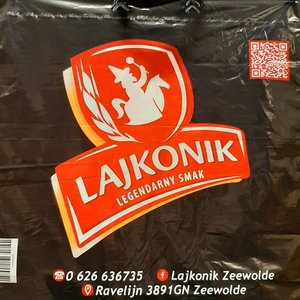 Tas, LDPE, Lus, 45x50cm, bodemvouw 10cm, 3 kleur bedrukt lusdraagtas, wit,45my,Lajkonik