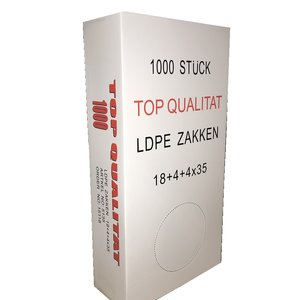 Zak, Zijvouwzak,Polyzak, LDPE, 18/4x35cm, 18my, transparant rood