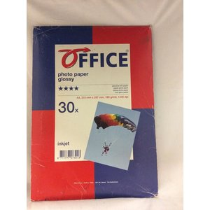 Office Glanzend Foto Papier A4 210 mm x 297mm 180g/m2 1440dpi 30 vellen -1DS-591