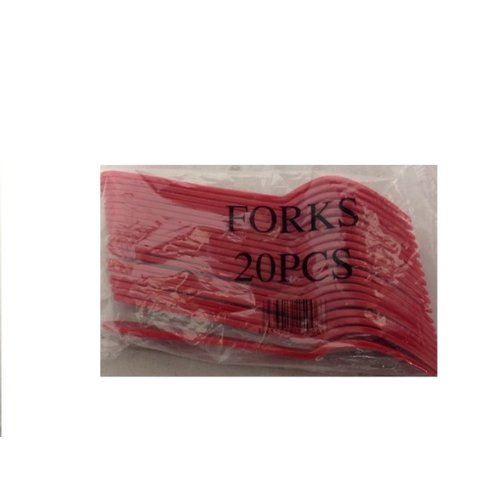 Onbekend Luxe Plastic Vork Rood 50PAK x 20st (1000 st)-50DS-17