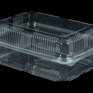 Bak, PET, 1250ml, saladebak, 130x190x55mm, transparant,vaste deksel,Hoog,50 stuks
