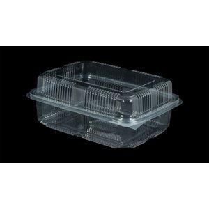Bak, PET, 1250ml, saladebak, 130x190x55mm, transparant,vaste deksel,Hoog,50 stuks-4ds