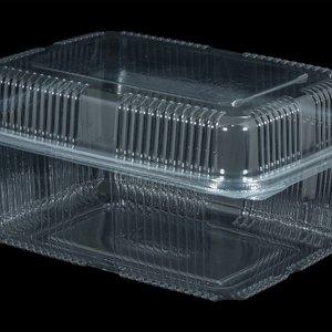 Bak, PET, 1750ml, saladebak, 130x190x80mm, transparant,vaste deksel,Hoog,100 stuks