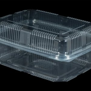 Bak, PET, 1500ml, saladebak, 130x190x70mm, transparant,vaste deksel,Hoog,100 stuks