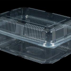 Eda Bak, PET, 1500ml, saladebak, 130x190x70mm, transparant,vaste deksel,Hoog,100 stuks