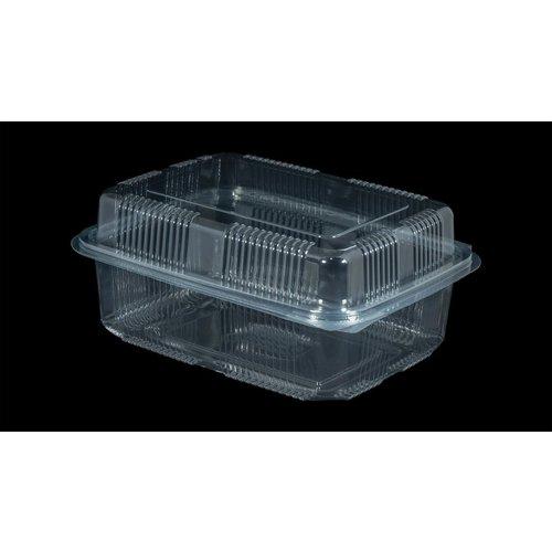 Bak, PET, 1500ml, saladebak, 130x190x70mm, transparant,vaste deksel,Hoog,50 stuks-4ds