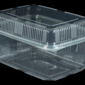 Eda Eda Bak, PET, 2000ml, saladebak, 130x190x90mm, transparant,vaste deksel,Hoog,100 stuks