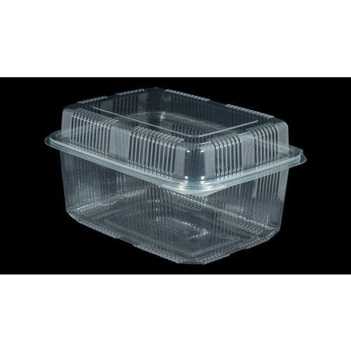 Bak, PET, 2000ml, saladebak, 130x190x90mm, transparant,vaste deksel,Hoog,100 stuks
