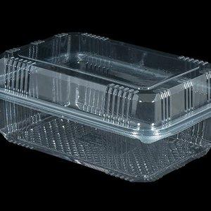 Eda Bak, PET, 1000ml, saladebak, 90X150x70mm, transparant,vaste deksel,Hoog,100 stuks