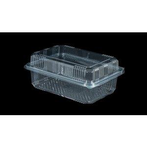Bak, PET, 1000ml, saladebak, 90X150x70mm, transparant,vaste deksel,Hoog,100 stuks-4ds