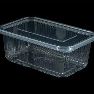 Bak, PET, 1000ml, saladebak, 90X150x70mm, transparant,vaste deksel,100 stuk