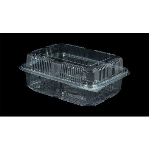 Eda Eda Bak, PET, 1250ml, saladebak, 130x190x55mm, transparant,vaste deksel,Hoog,50 stuks