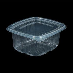 Eda Eda Bak, PET, 500ml, saladebak, 85x100x60mm, transparant,vaste deksel,50 stuks,