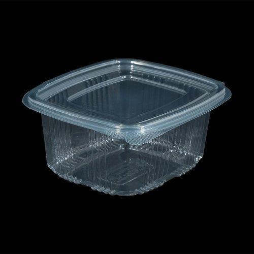 Bak, PET, 500ml, saladebak, 85x100x60mm, transparant,vaste deksel,50 stuks,