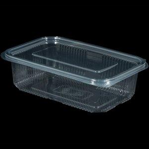 Bak, PET,750ml, saladebak, 90x150x50mm, transparant,vaste deksel
