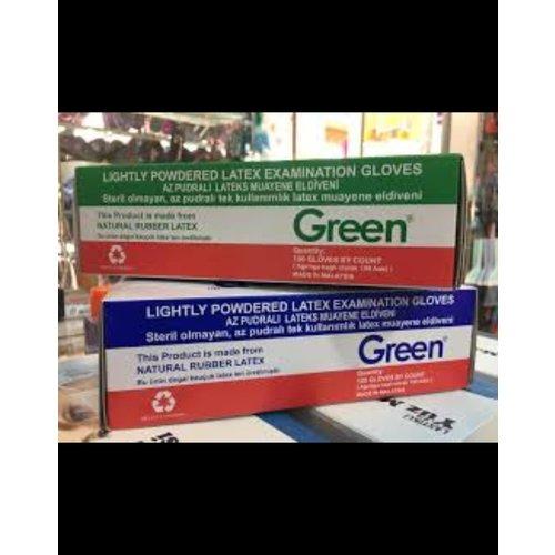 Green Green Handschoen,Latex,Licht Gepoederde, S ,Wit 100 st