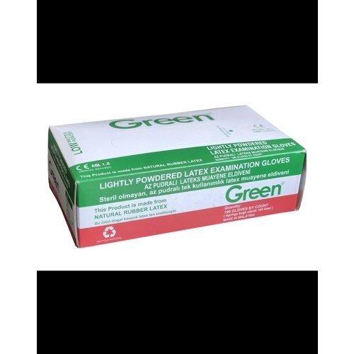 Green Green Handschoen,Latex,Licht Gepoederde, L ,Wit 100 st