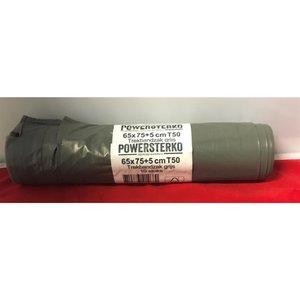 Powersterko Afvalzak,Trekbandsluiting LDPE, 60L, 65x75cm, 55my, grijs,T50,10st