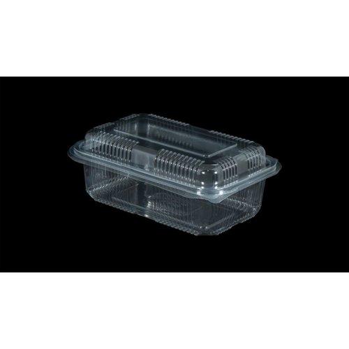 Eda Eda Bak, PET,750ml, saladebak, 90x150x50mm, transparant,vaste deksel,Hoog