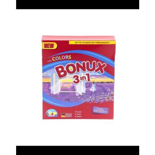 Bonux Bonux  Waspoeder 3in1 Fresh Gekleurde Was Caring Lavender-400gr/4sc