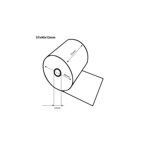 Onbekend Thermische Pinrollen 57x40x12mm/57x20m x 12mm 5rl pk -50rl/ds