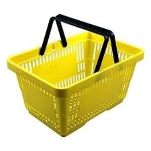 Winkelmand, kunststof, geel.