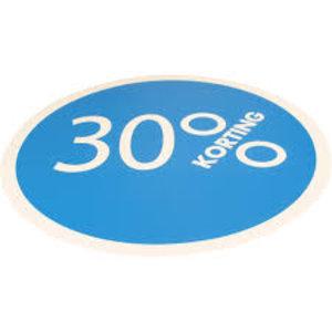 Etiket, Reclame-etiket, Papier, 30% korting, ∅30mm, blauw 250 stuks