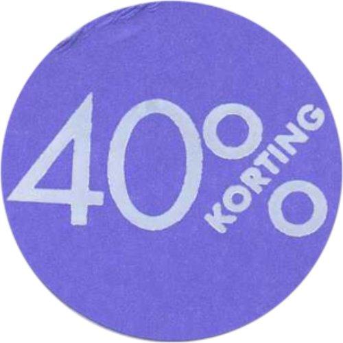 Etiket, Reclame-etiket, Papier, 40% korting, ∅30mm, paars 250 stuks