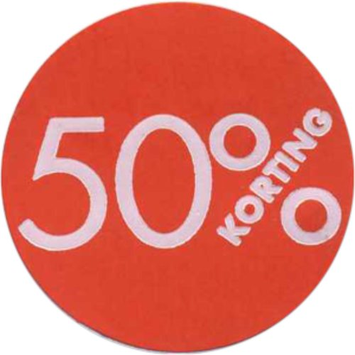 Etiket, Reclame-etiket, Papier, 50% korting, ∅30mm, rood 1 rl 250stuks