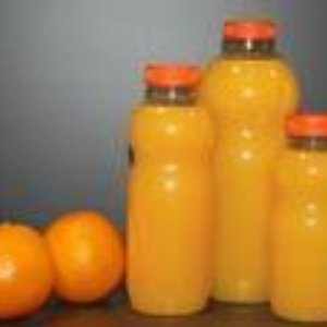 Onbekend Fles, petfles, PET, met oranje dop, 1000cc, transparant