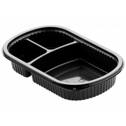 KLNC Bak,PP, 3-vaks, menubak,maaltijdtray 227x200x40mm, zwart KLNC 50st