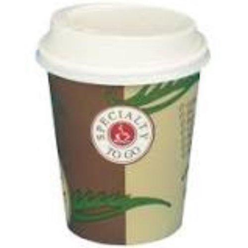 Coffee to go, Beker, Karton/PE, 250ml, 8oz, 92mm, bruin/Wit,50st