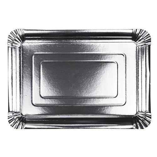 Papieren dienblad Rechthoekige vorm zilver 29x42 cm