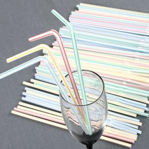 Eda Eda Flexibele plastic Rietjes drinkrietjes, 21cm, wit 'Stripes' 100st
