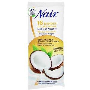Nair Koude  Wax Strips 16pcs+2pcs Finish Wipes Bikini Line&Armpits Coconut