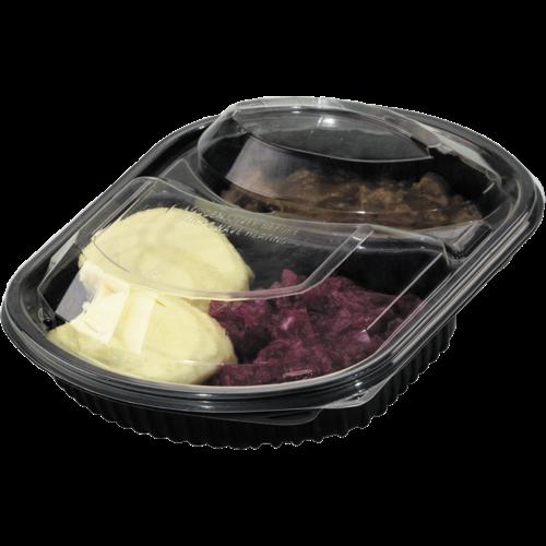 KLNC Bak,PP, 2-vaks, menubak,maaltijdtray  227x200x40mm, KLNC 50st