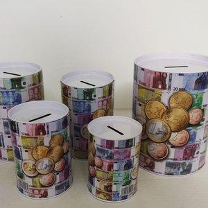 Eda Geldspaarpot XL,Spaarpot blik,Euro spaarpot volwassenen,Spaarpot kinderen,Spaarpot jongen,Spaarpot meisje 5 delig set