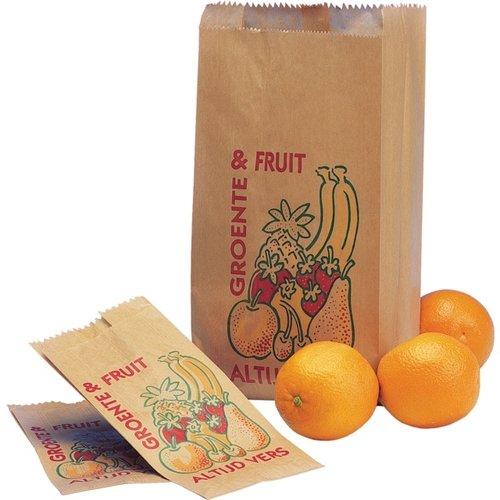 Fruitzak, papier, 1 pond, nr.1, Altijd vers, bruin