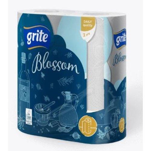 Grite Blossom 2 rollen Keukenrol Wit 2- laag 88 vel Keukenpapier