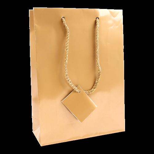 Onbekend Cadeaustasjes, Tas, Nordic Stripes, Papier, Met koord, L 18 xB 8,5xH24cm, draagtas,Goud kleur