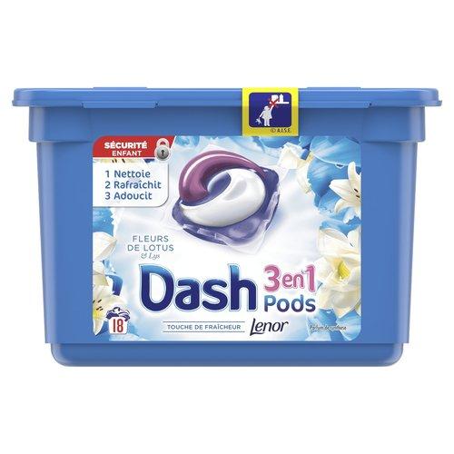 Dash Dash  Wasmiddel Pods 3 in 1 Fleurs De Lotus  (18x26,4gr) 475,2gr 18sc