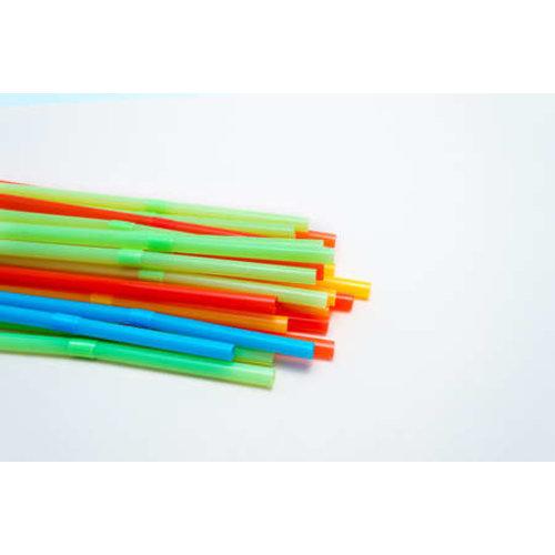 Paille Flexibele drinkrietjes,Mix Kleur, 21cm, wit 'Stripes' 200st met eigen dispenser