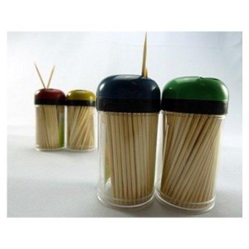 Cure-Dents Tandenstokers, hout rond 6,7 cm in spenderbox, met draaisluiting 2 x 200 st