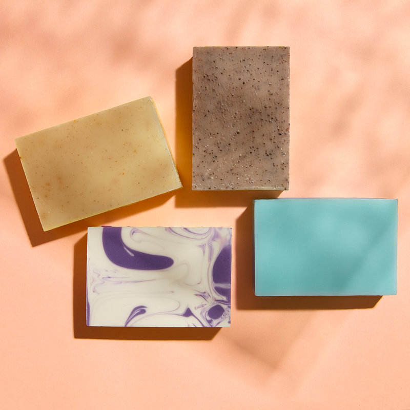 4 handmade, natural soap bars of your choice