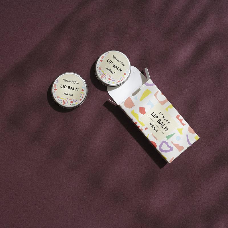 Lippenbalsem - Natural - parfumvrij - 2 blikjes in een doosje