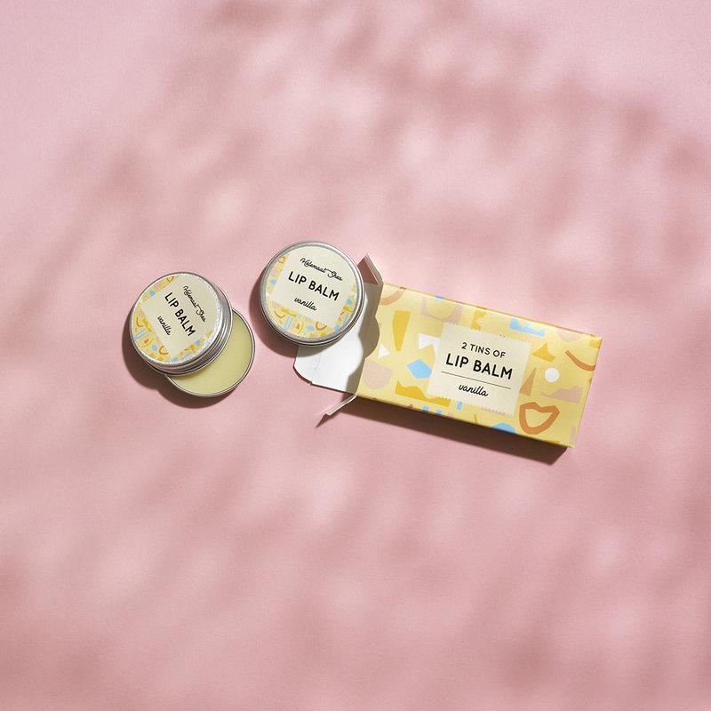 Lipbalm - Vanilla - 2 tins in cardboard box